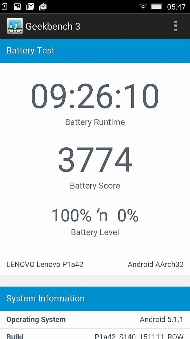 Lenovo P1 geekbench battery test 1