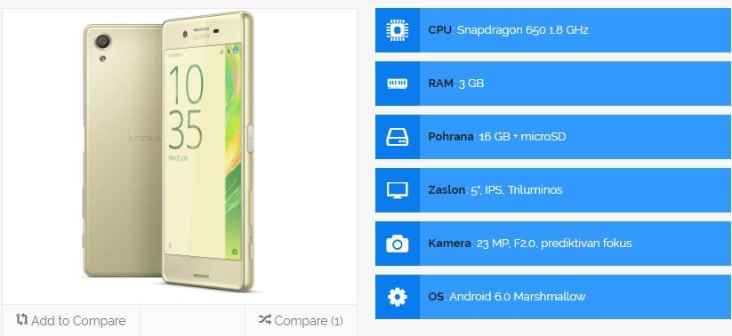 Sony Xperia X specifikacije