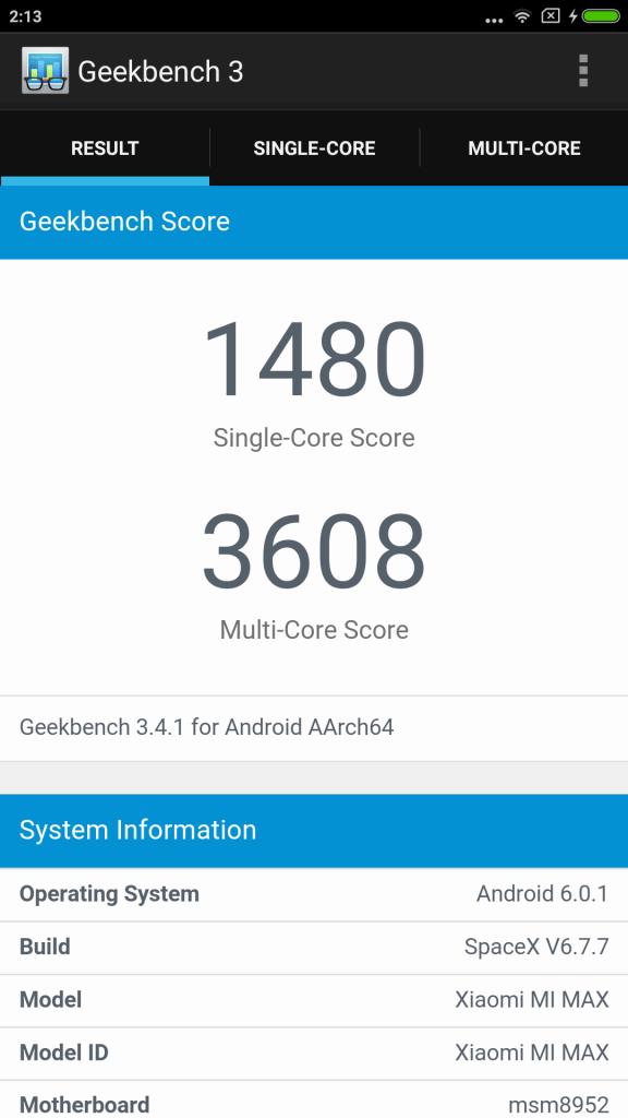 Xiaomi Mi Max Benchmark 1