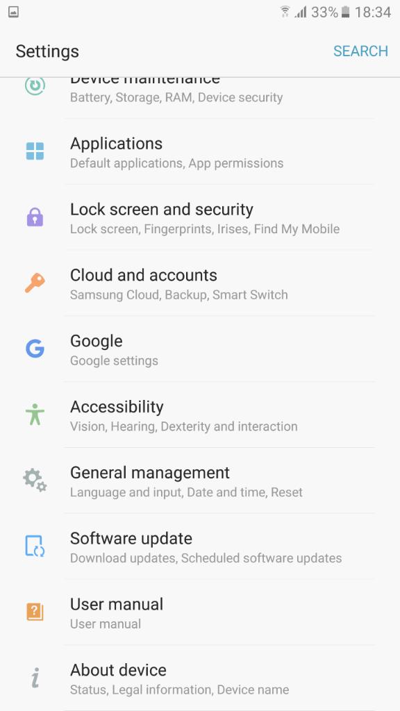 Samsung Galaxy Note7 sucelje 7