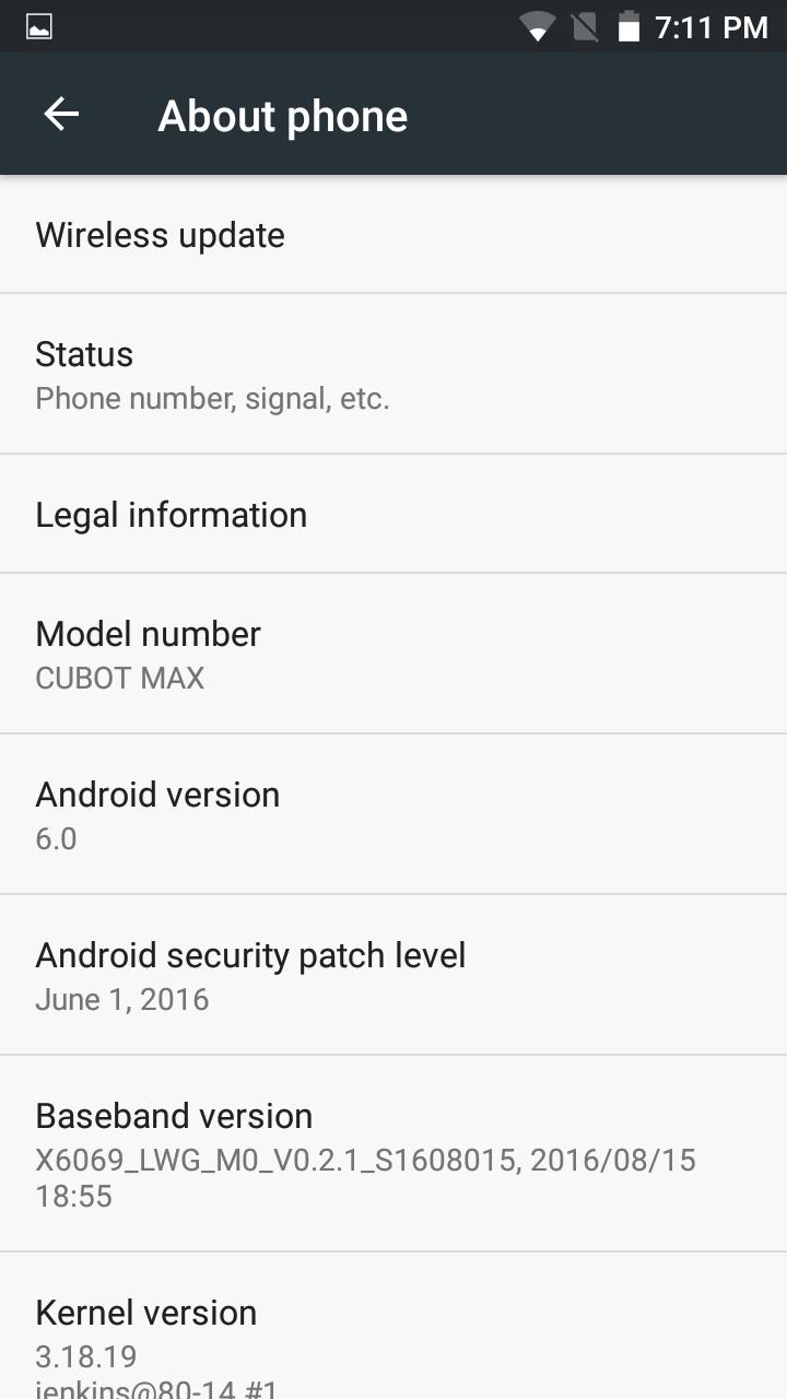 Cubot Max softver 19