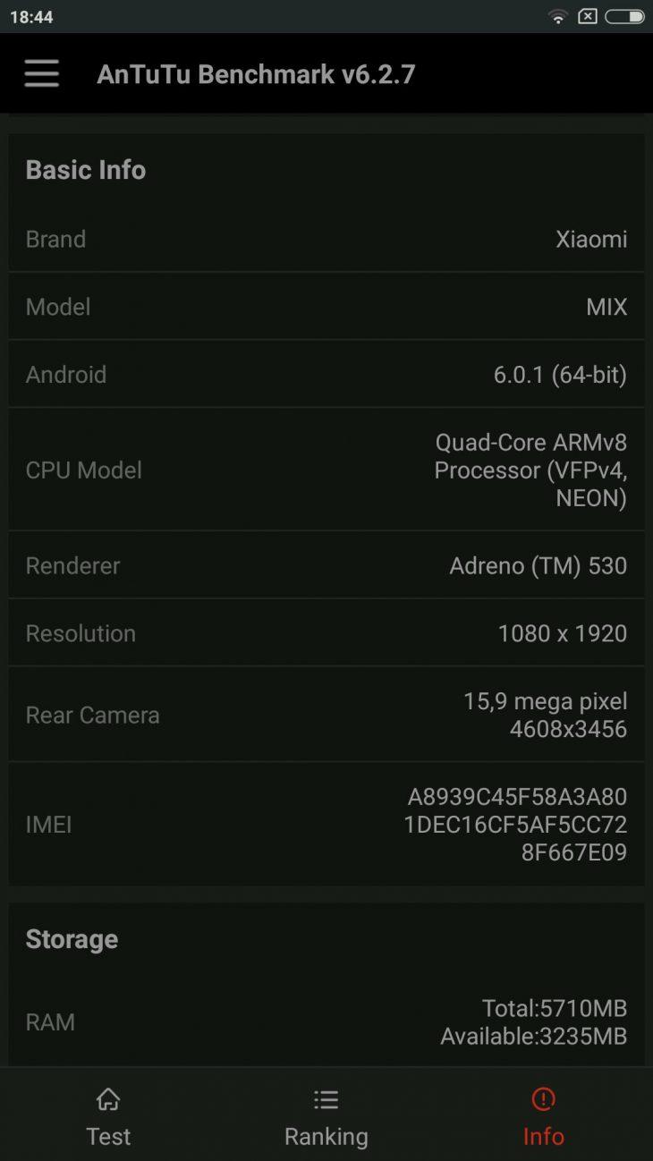 Xiaomi Mi Mix benchmark 3