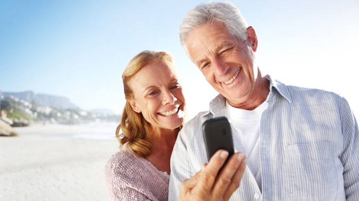 old people using cell phone