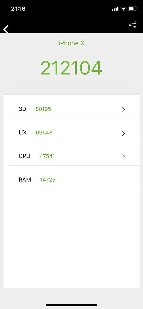 iPhone X benchmark 1