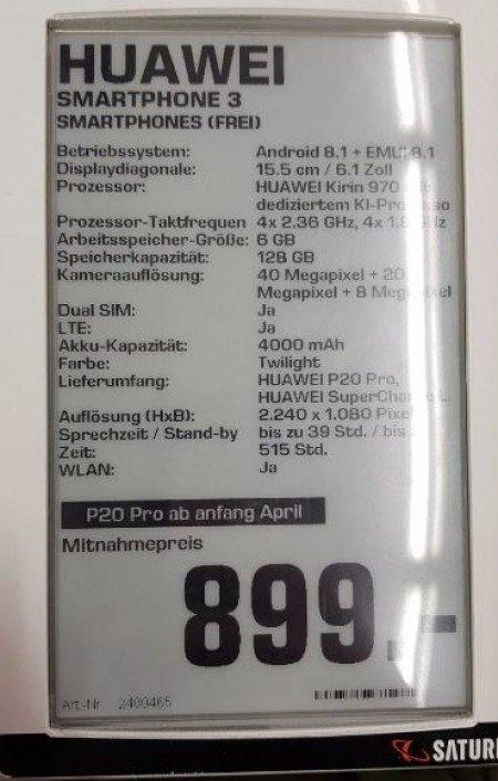 Huawei P20 Pro specifikacije