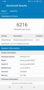 Samsung S9 Geekbench 4 2