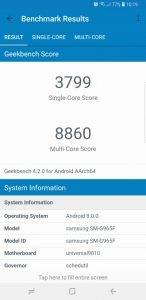 Samsung S9 Geekbench 4 3