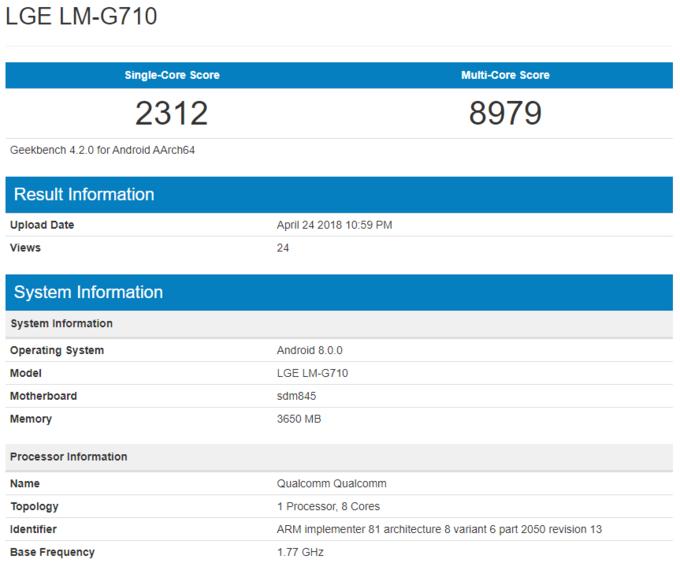 LG G7 benchmark