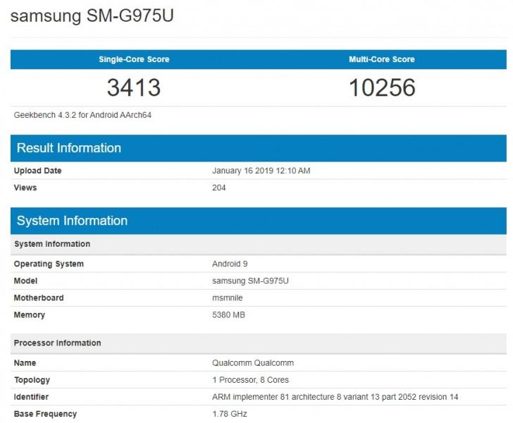 Samsung S10 GeekBench SD855