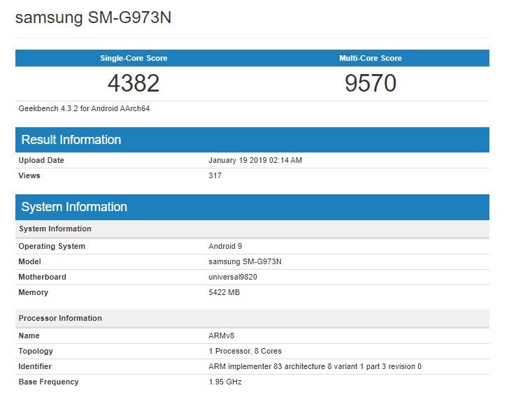 Samsung S10 GeekBench