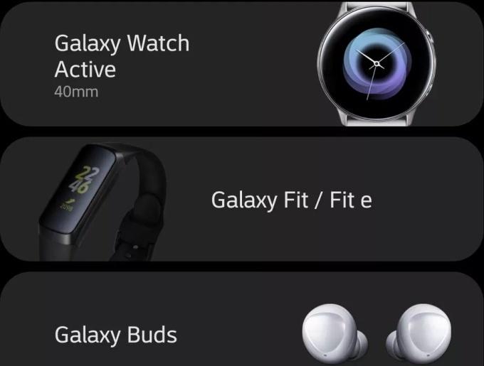 Galaxy Watch Active Galaxy Fit Galaxy Buds