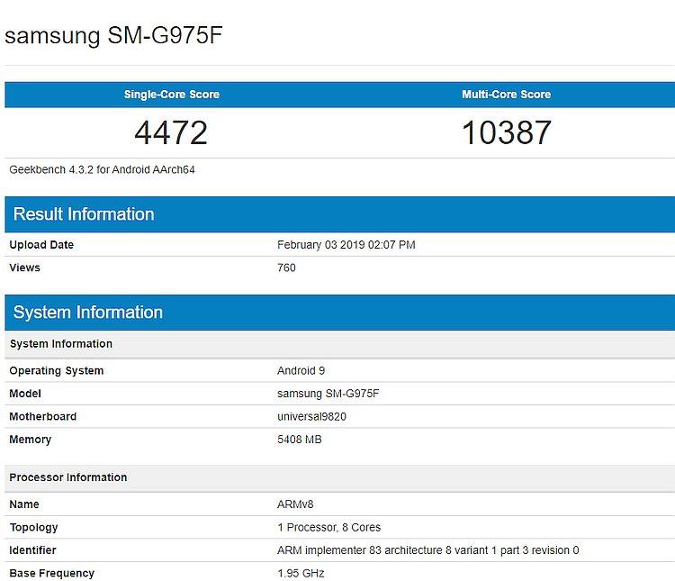 Samsung S10 Exynos Geekbench 4