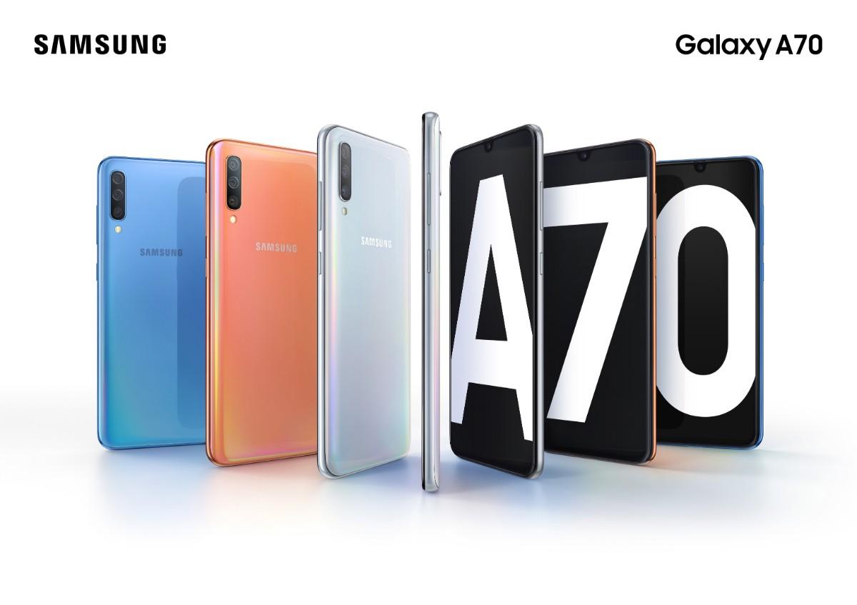 Galaxy A70 Product KV combo bluecoralwhite 2P