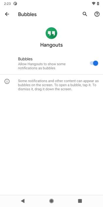 Android 11 bubbles