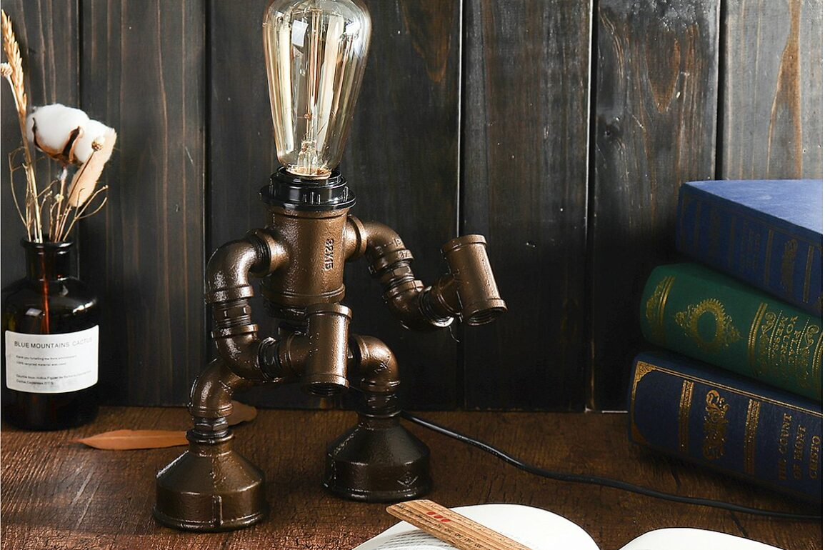Steampunk robot LED lampa 1
