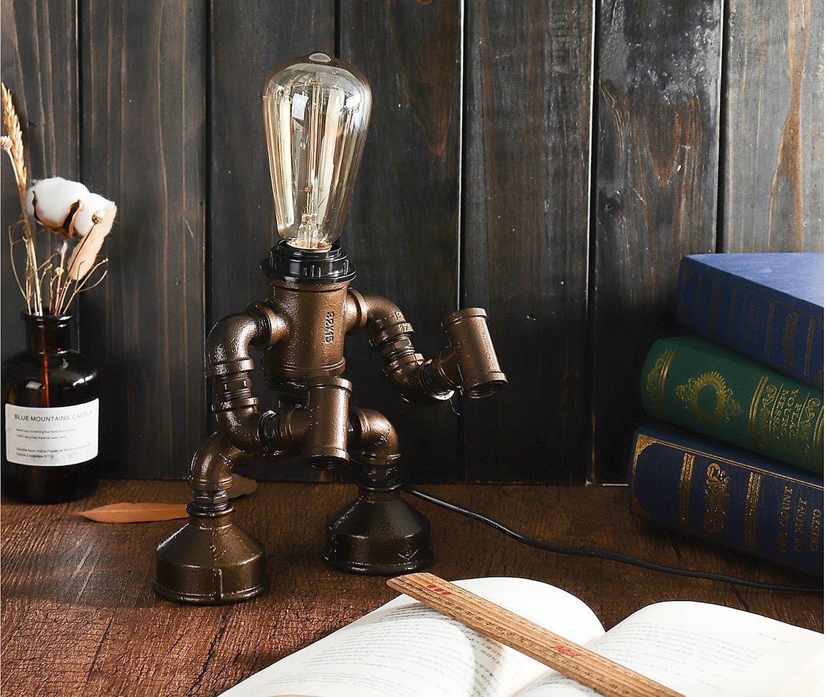 Steampunk robot LED lampa 1