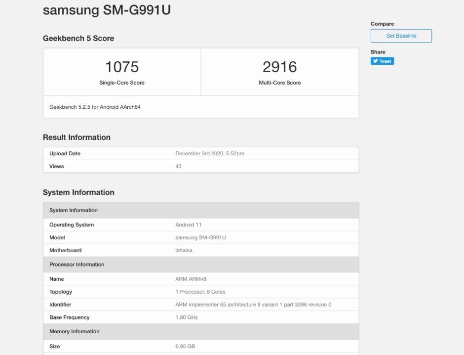 Galaxy S21 5G benchmark