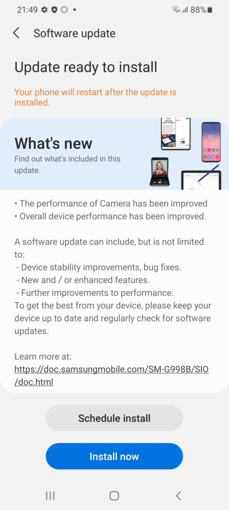 S21 Ultra camera update 1