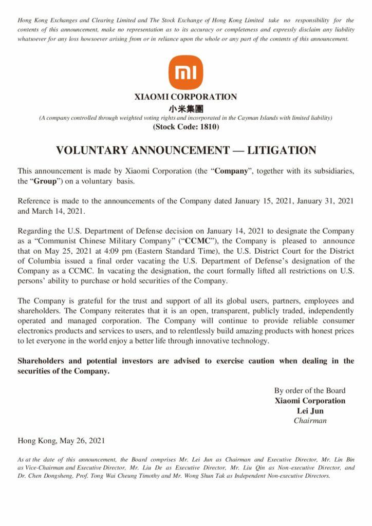 Voluntary announcement litigation